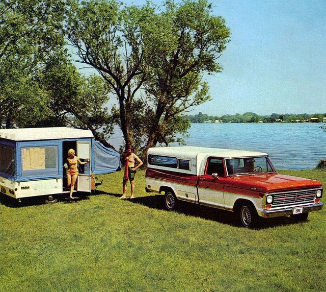 1969 Ford F-100 Pickup Truck with Camper Shell and Pop-up Trailer by coconv, via Flickr