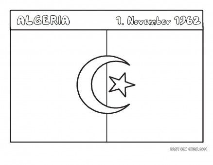 Free Printable Flag Of Algeria Coloring Page For Kids National Day