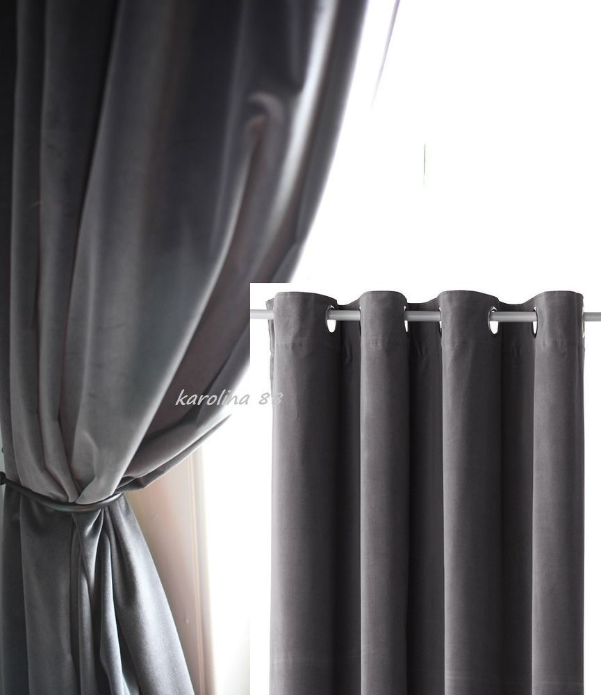 Ikea Sanela Charcoal Gray Curtains 2 Panels Blackout Cotton Velvet 118 Long  NIP