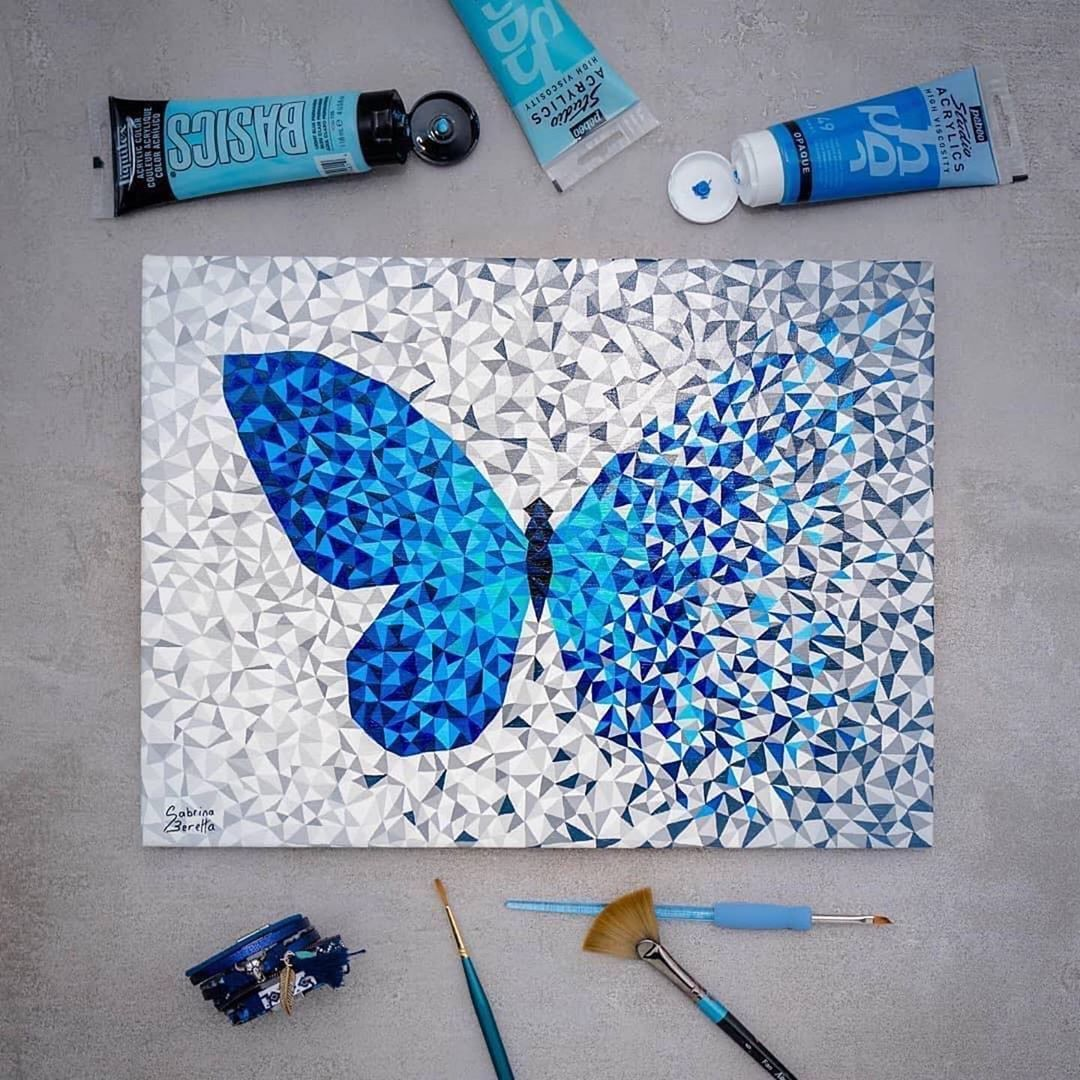 Great Art By Artetbe In Love With The Style Of These Butterflies Technique Butterfly Art Painting Butterfly Painting Butterfly Art