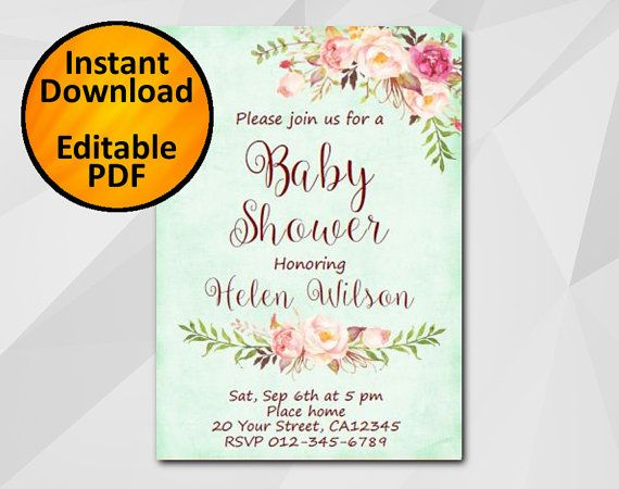 Party Invitations Templates Free Downloads Instant Download Baby Shower Invitation Turquoise Invitation .