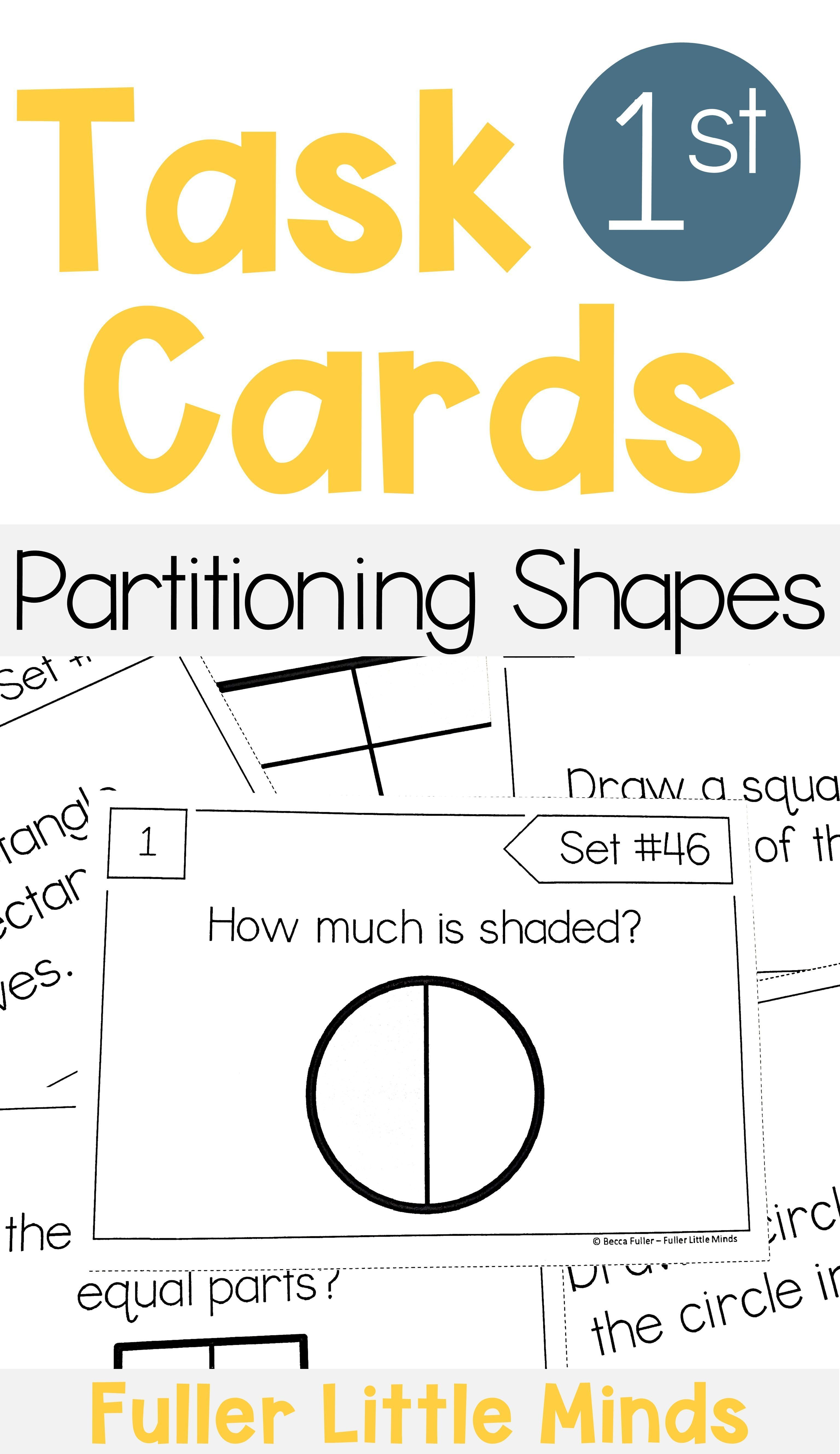 Partitioning Shapes 1st Grade Math Task Cards In 2020 Math Task Cards 1st Grade Math Math Tasks