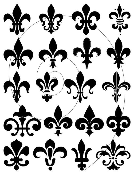 Fleur De Lis Clip Art Digital Clipart Design Elements For