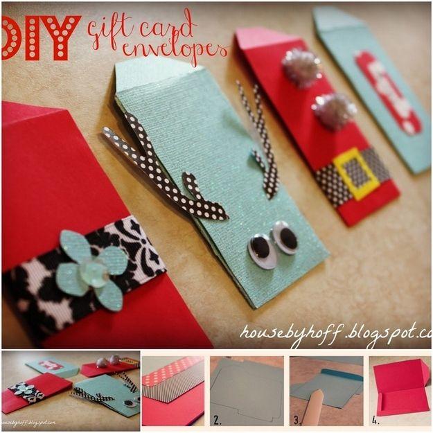 Diy Christmas Gift Card Holder: Embellished Paper Envelopes