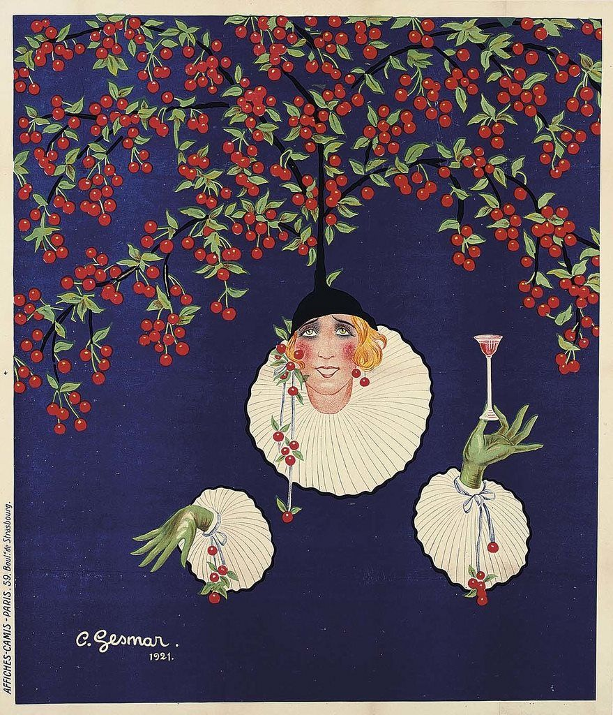 Mistinguett 1921 Illustration Charles Gesmar Le Cherry de mon chéri est mon Cherry Publicité pour le Cherry Regals