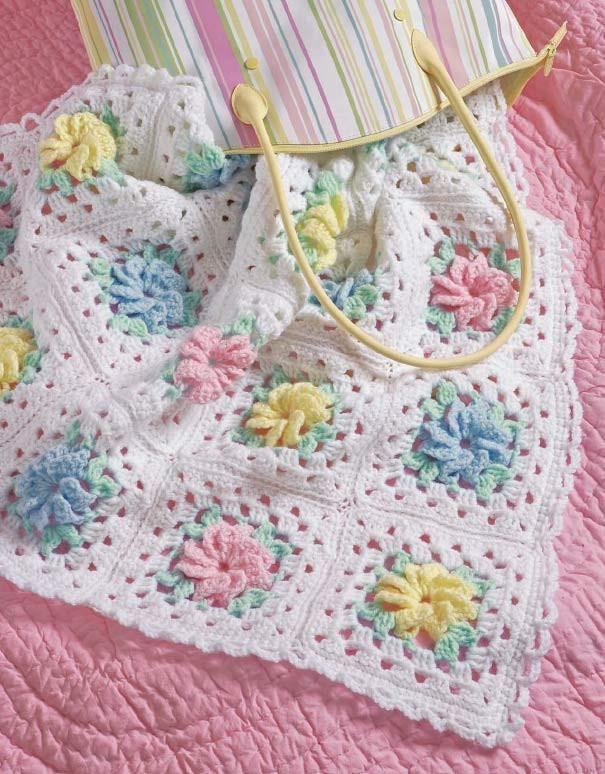 Popcorns & Pinwheel Roses Afghan Set Crochet Pattern | Bebe y Puntos