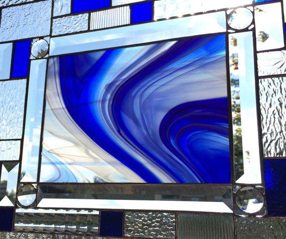 Remolino de espectro azul cobalto precioso teñido por SSGlassworks