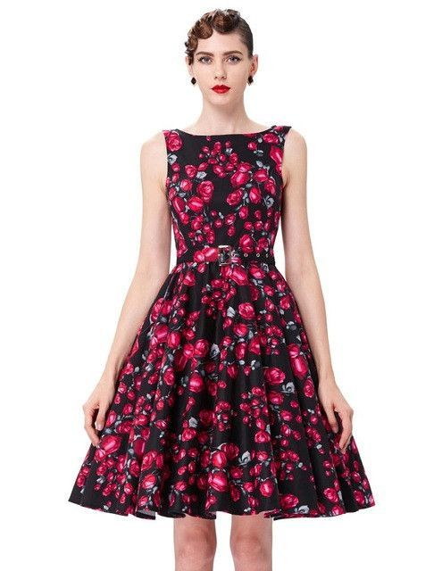 4cc3049bf12 Belle Poque Print Floral 50s 60s Vintage Dresses Audrey Hepburn 2017 New  style Summer Retro Dress Vestidos robe Womens Clothing