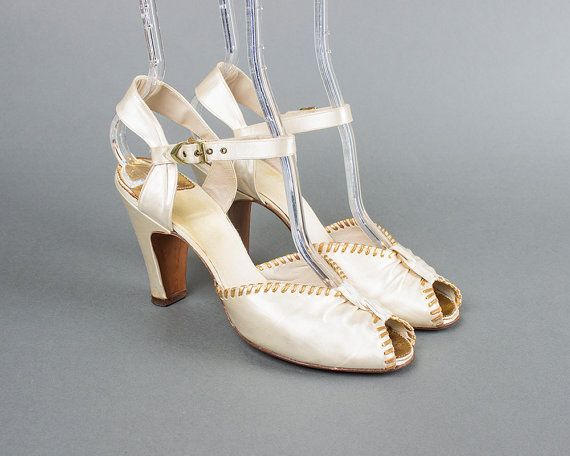 Vintage 30s 40s Cream Satin Peep Toe Heels | 1930s 1940s Metallic Gold Leather Lacing Ankle Strap Art Deco Bridal Shoes (womens 6.5 37) | Birthday Life Vintage on Etsy