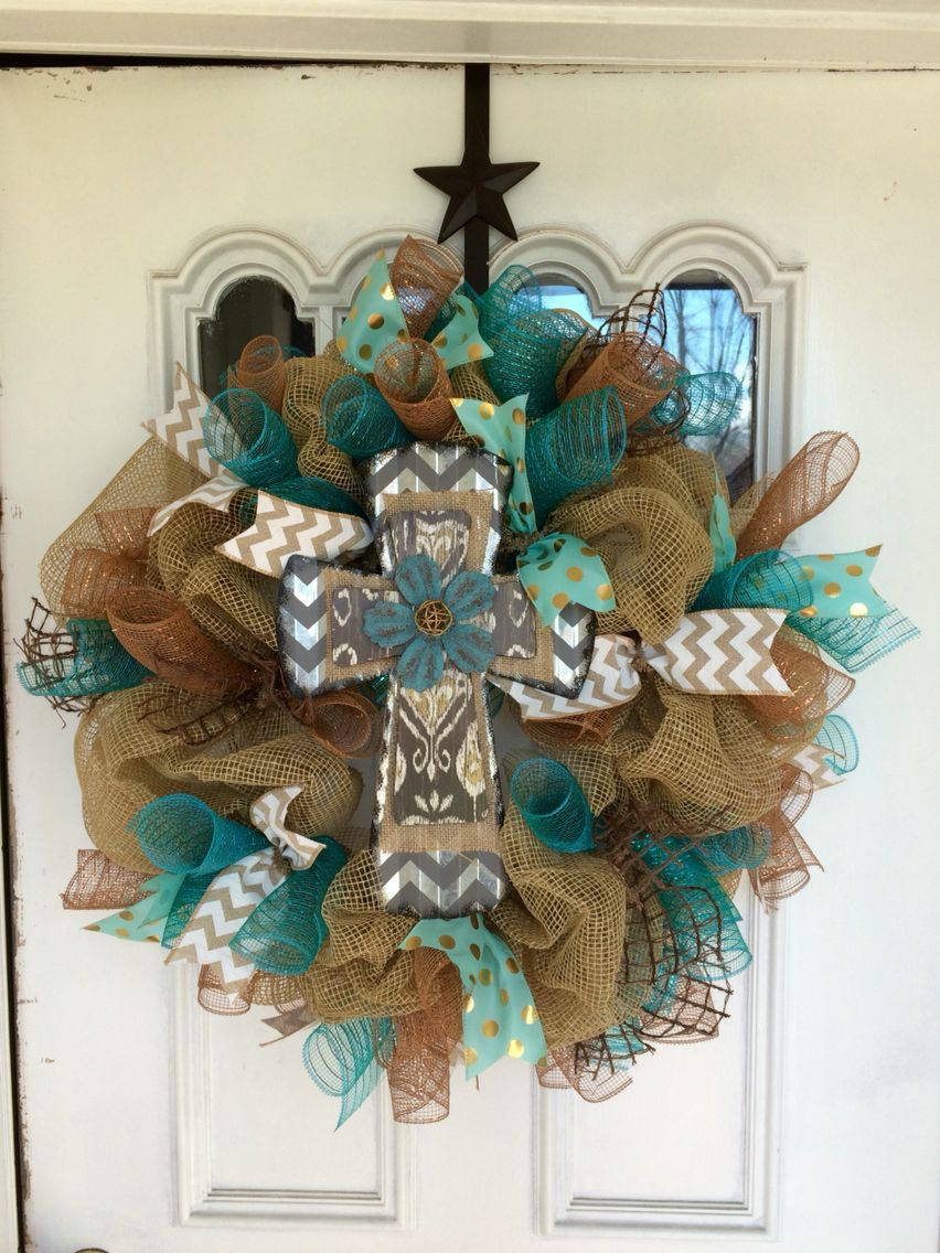 "Burlap cross wreath 24"" $50"