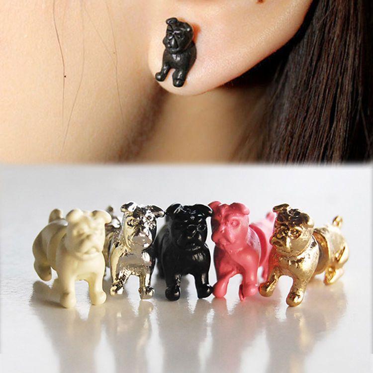 Creative nice 1pc cool punk temptation pug dog ear stud