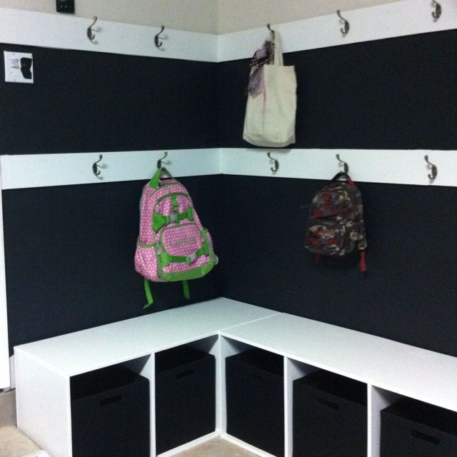 Our New Mudroom Area In The Garage Hooks For Backpacks And Coats Bins