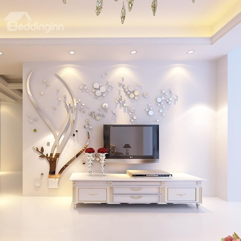 3d Large Size Round Dots Tree Wall Stickers Home Decor: Silver Branches And Round Dots Acrylic Mirror Waterproof
