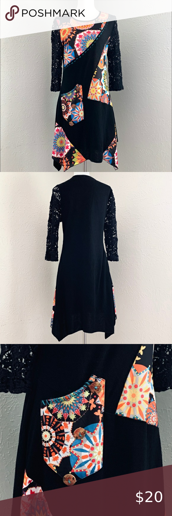 "Radzoli Art-to-wear tunic - Black - Size medium Radzoli Wearable art tunic with a long-line asymmetric hem  Women's size medium  Mixed material with unique details Great preowned condition Length approx 32""-35"" Underarm to underarm 17"" Radzoli Tops Tunics #wearableart"