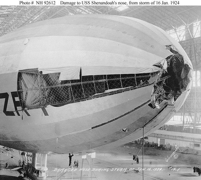 On 16 January 1924 Shenandoah was moored to Lakehurst's mast for a test of her ability to endure bad weather. As wind conditions worsened in the early evening it was decided to leave the mast and ride out the storm in flight. However, before this could be done the airship was hit by a 78 mile-per-hour blast of wind, which tore her away from her mooring. Though her bow and upper fin were seriously damaged, and two cells of helium gas were ripped open, Shenandoah's on-duty crew were able to…