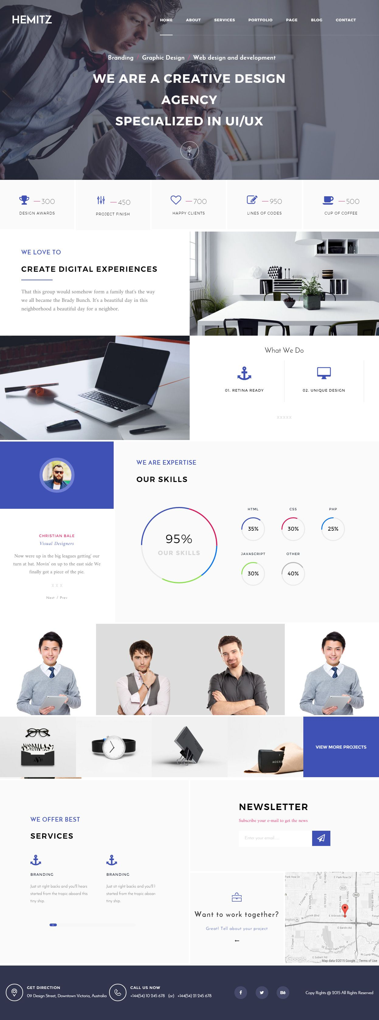 Hemitz is premium responsive retina portfolio html template it can be used for creative agencies to show porfolio and projects you can builder portfolio website using hemitz wordpress theme template site pronofoot35fo Image collections