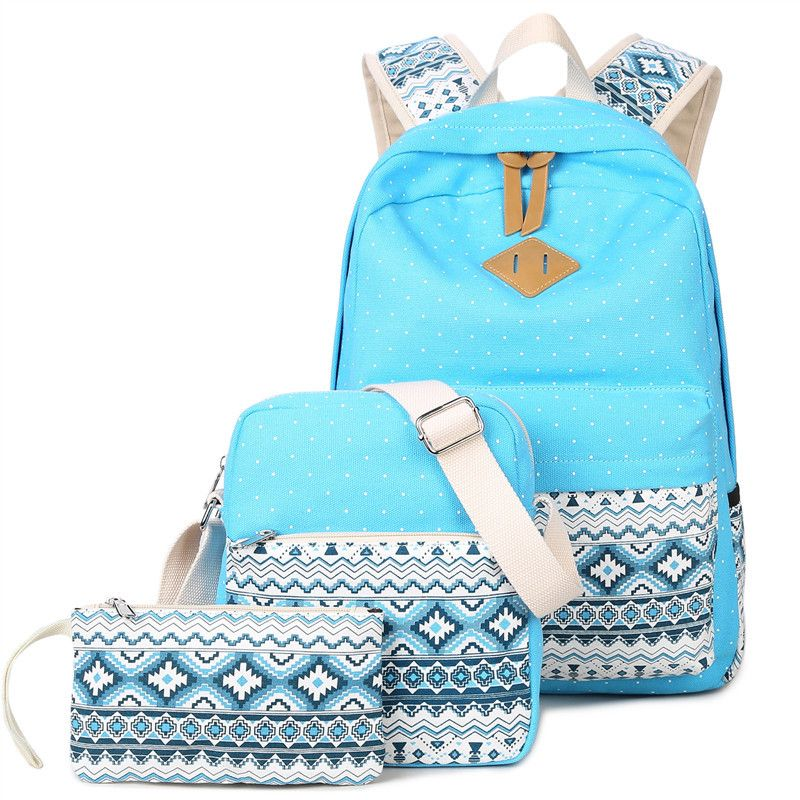 a27a071af6 3 PCS Set Stylish Canvas Printing Backpack Women School Bags for Teenage  Girls Cute Bookbags Laptop Backpacks Female Bagpack-in Backpacks from  Luggage ...