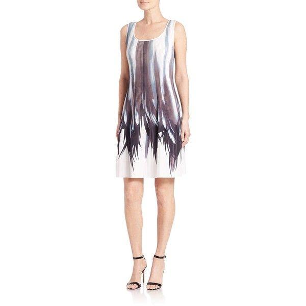 Lafayette 148 New York Raewyn Pleated Shadow-Print Dress (5.465 NOK) ❤ liked on Polyvore featuring dresses, apparel & accessories, shift dress, sleeveless dress, sleeveless pleated dress, pleated dress and sleeveless shift dress