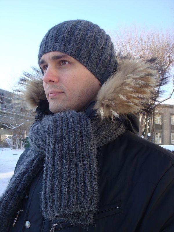 men\'s knit scarf pattern and slouchy knit hat | knitty | Pinterest