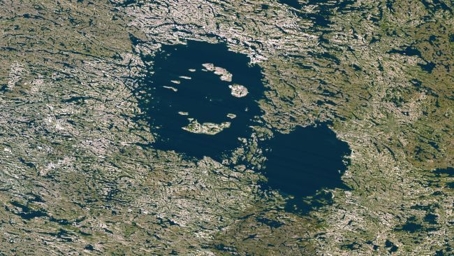 Clearwater Lakes, Canada. This one is a double doozy of meteor impacts. A pair of asteroids hit Quebec approximately 290 million years ago on the eastern shore of Hudson Bay. The impact created the Clearwater Lakes. The larger lake is 20 miles in diameter, while the smaller one is 13.7 miles in diameter.