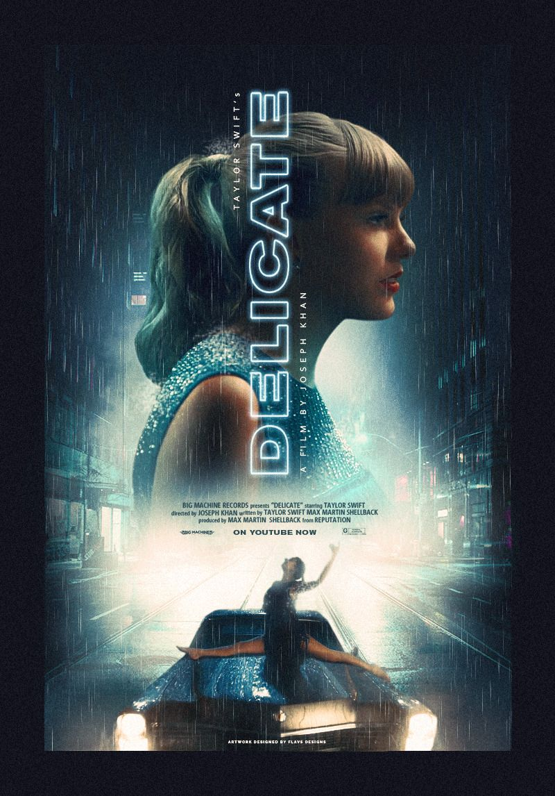 Taylor Swift Delicate Music video poster. Taylor swift