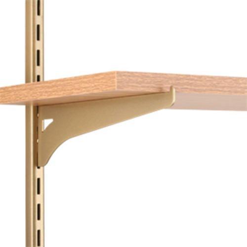 8 In Single Track Wood Shelf Bracket Gold Tone At Menards Gold Shelves Wood Shelf Brackets Shelves