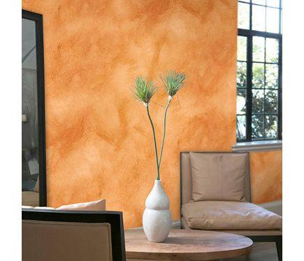 Pintura decorativa con efectos alp veladura naranja tierra - Efectos pintura paredes ...