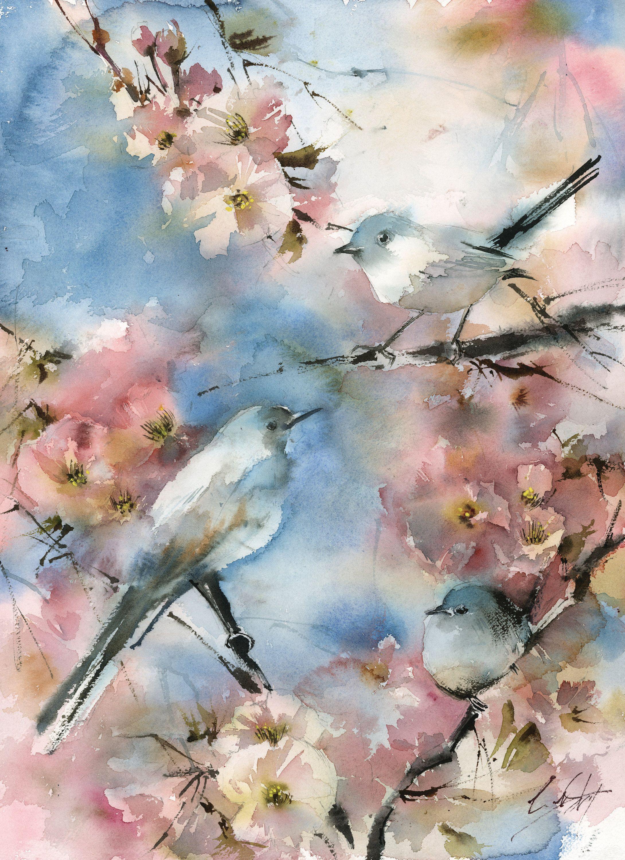 Birds Trio on Blooming Tree Original Watercolor Painting