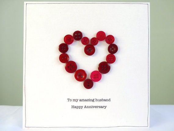 Ruby Wedding Anniversary Gift For Husband : anniversary cardsbutton heartruby weddinghusband anniversary ...