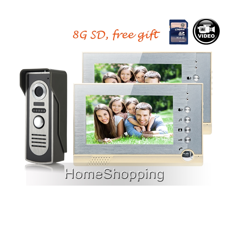"""185.98$  Watch here - http://alilwr.shopchina.info/go.php?t=32657950921 - """"FREE SHIPPING 7"""""""" Color Screen Video Intercom Door Phone System 2 Recording Monitors 1 Night Vision Outdoor Door Camera In Stock"""" 185.98$ #buyonlinewebsite"""