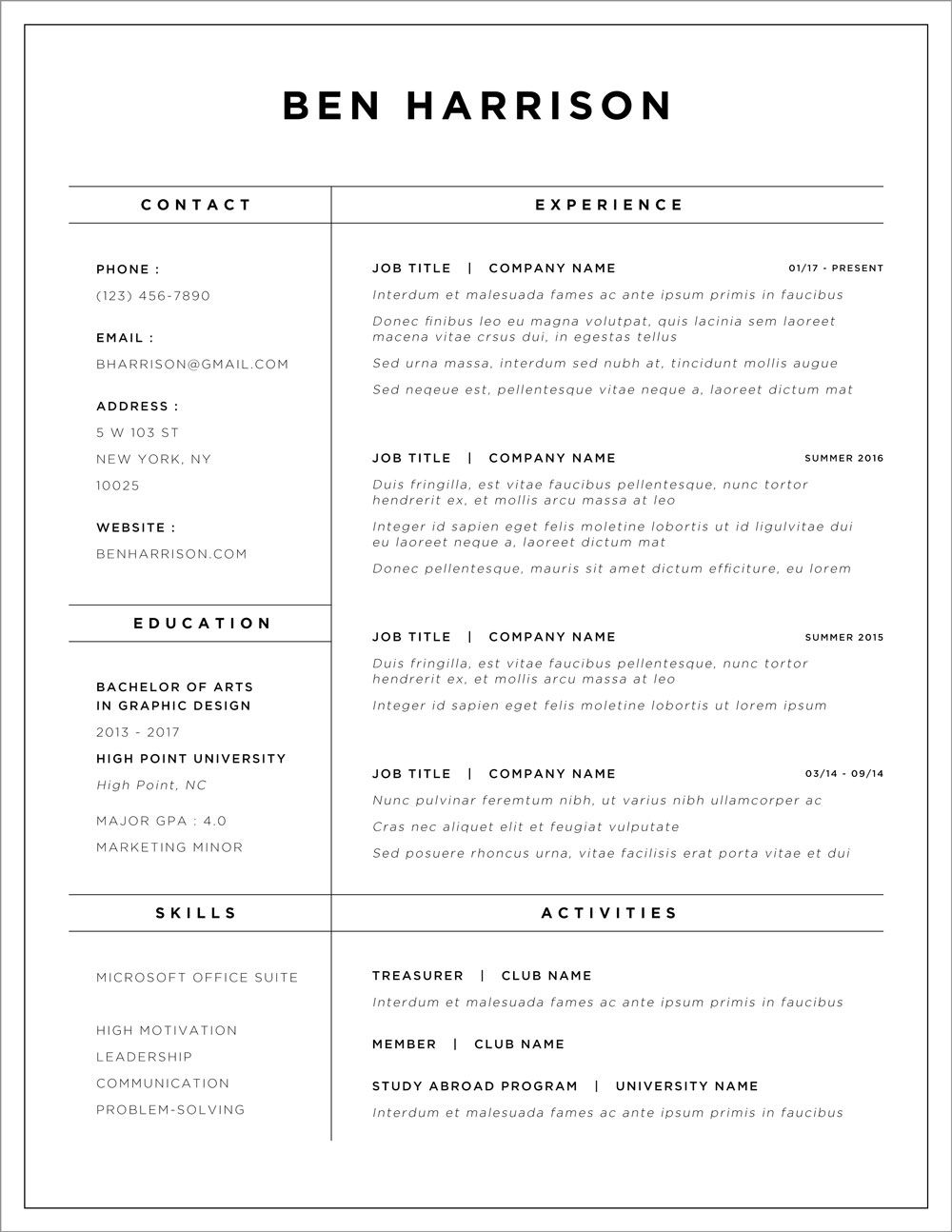 Resume design services, resume design template, resume