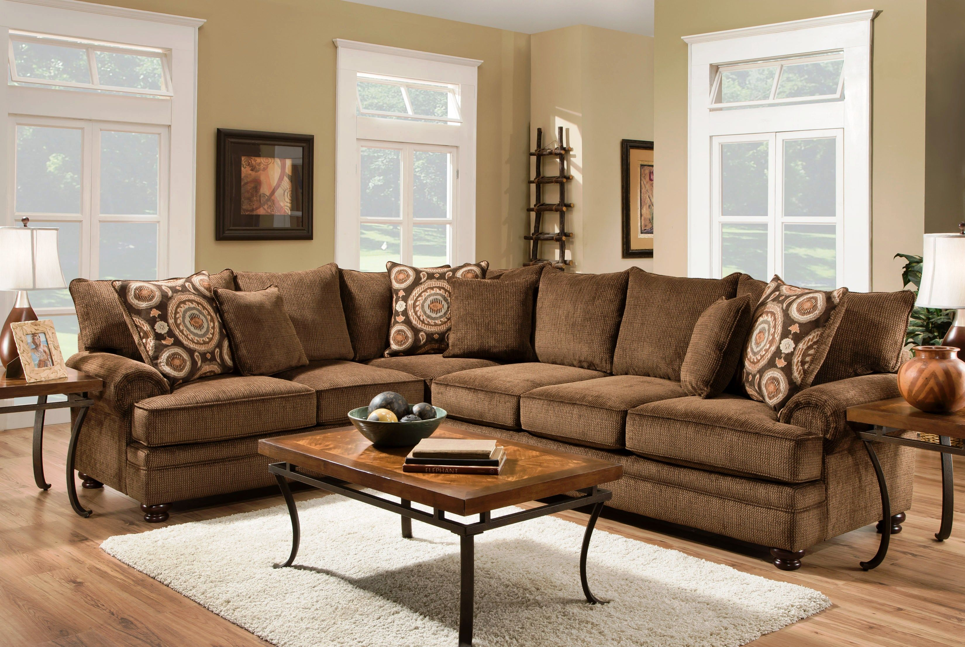 Ria Twill Chocolate 2 Piece Sectional Sofa Set with Sumatra
