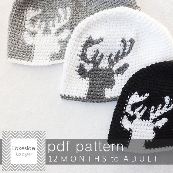 Crochet Pattern - Dylan Deer Silhouette Hat/Beanie by Lakeside Loops ...