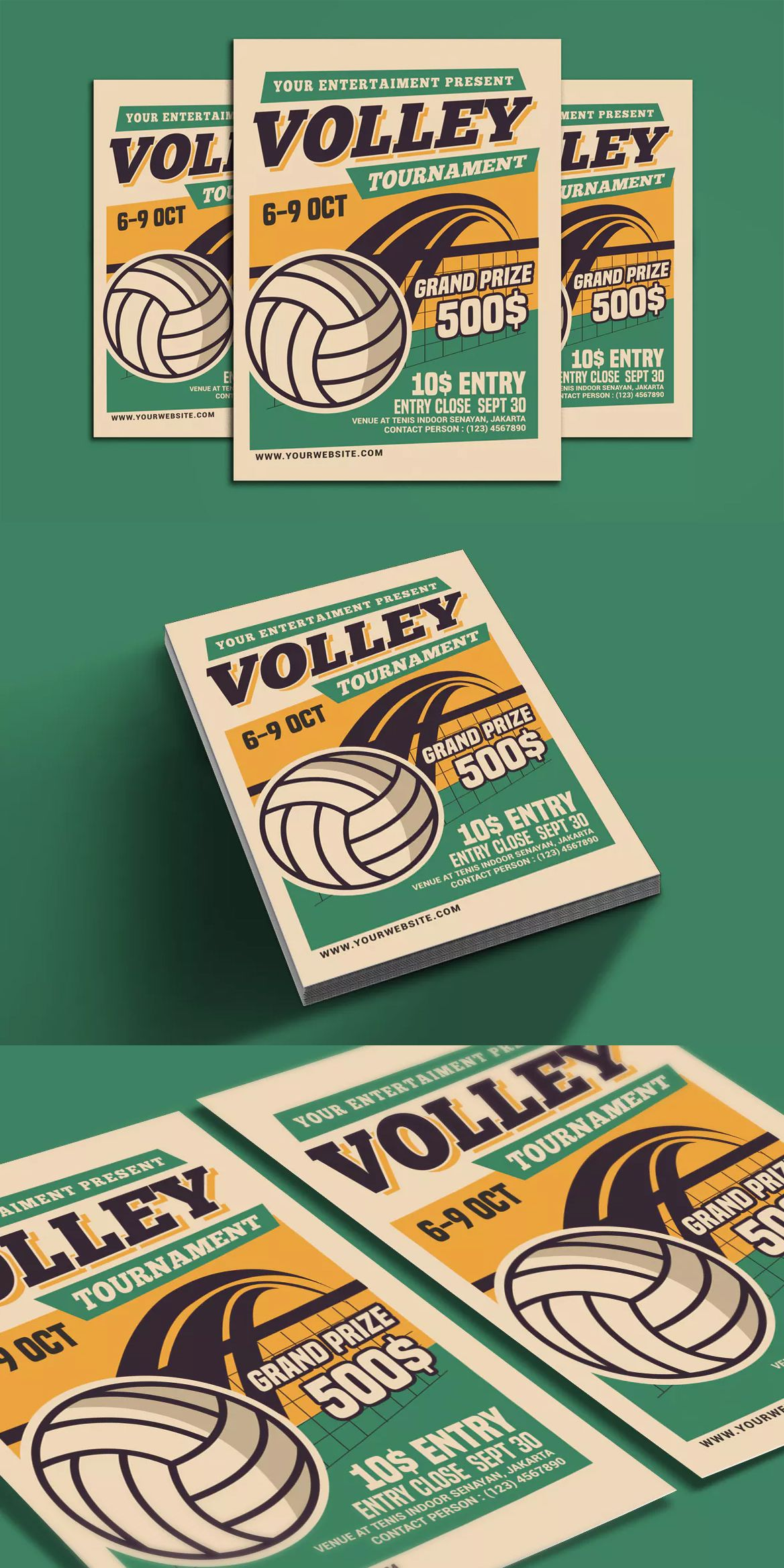 Volleyball Tournament Flyer By Muhamadiqbalhidayat On Envato Elements Volleyball Tournaments Volleyball Designs Sports Graphic Design