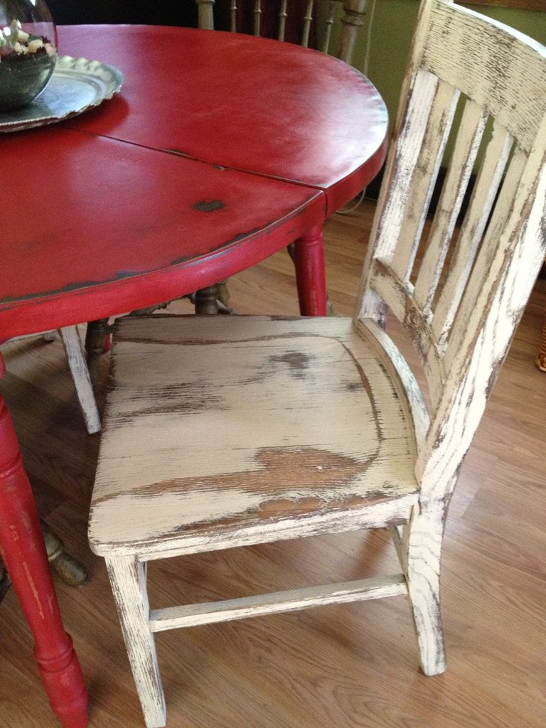 round rustic kitchen table Distressed Round Country Kitchen Table The chair is a little TOO distressed for me but