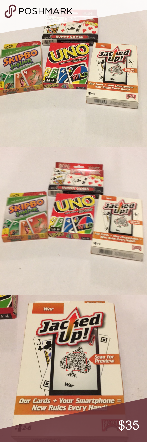 4 Card Games NEW Rummy, SkipBo Jr, jacked up & Uno NWT