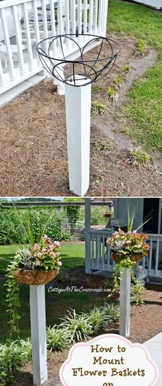 Mount flower baskets on wooden posts along the walkway of your front yard
