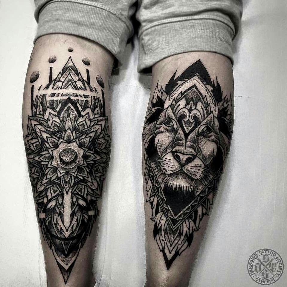 Lower leg guys traditional sleeve tattoos - Lion Backside Of Right Leg Calf Tattoostattoo Manleg