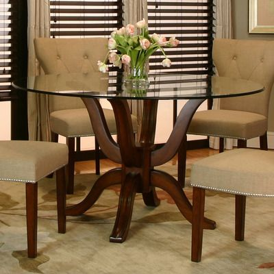 Cramco Sonnet Round Glass Dining Table W Cherry Wood Base Round