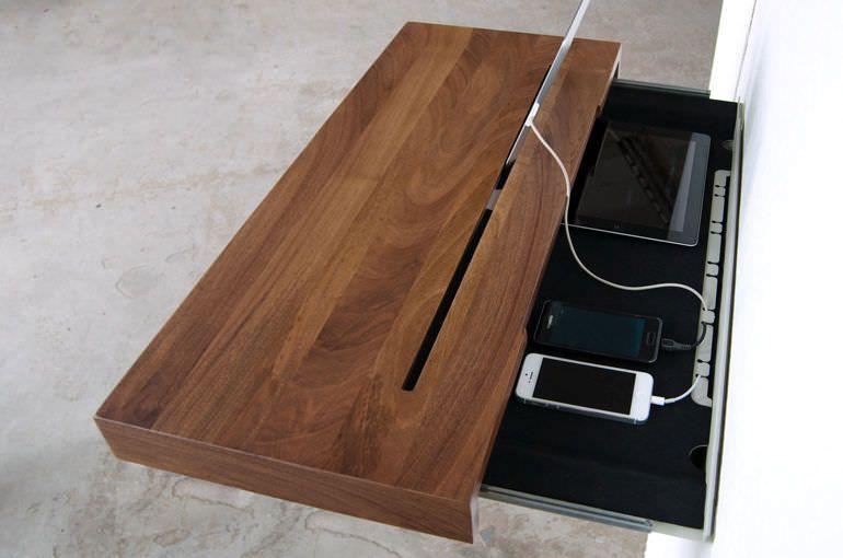 Wandregal modern aus holz integrierter steckdose stage spell flur garderobe - Tablet wandhalterung selber bauen ...