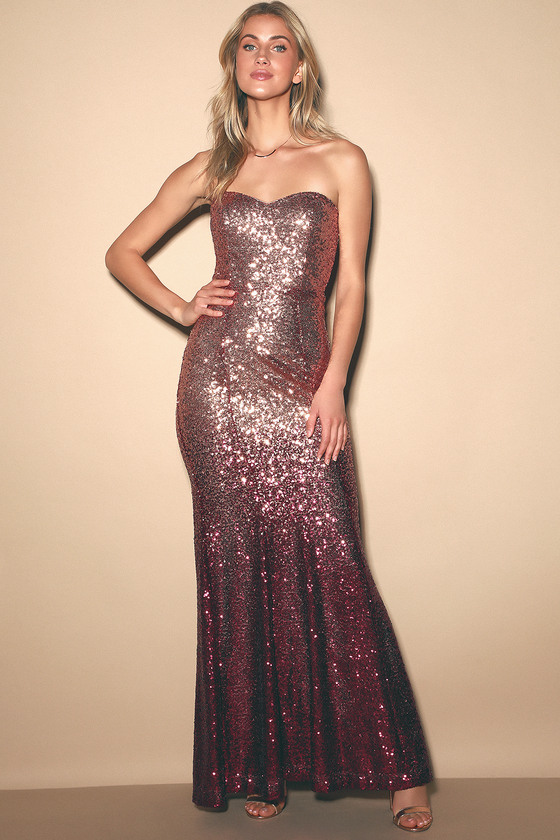 Kiss Me Burgundy and Rose Gold Ombre Sequin Strapless Maxi