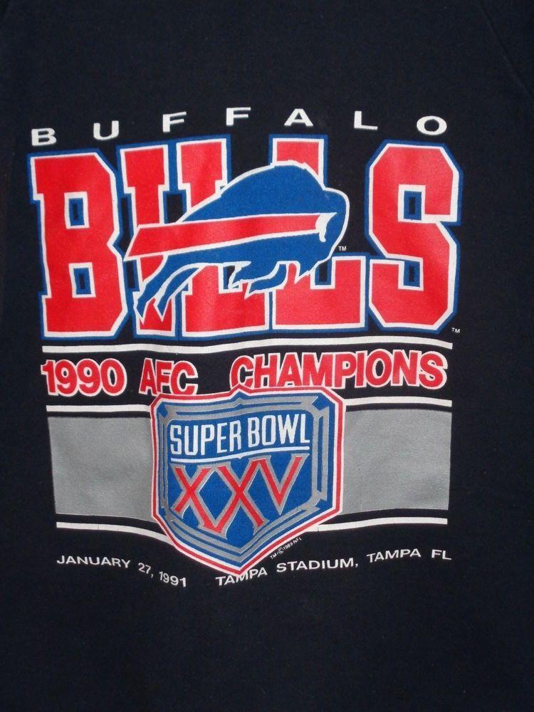 fed14dd7d BUFFALO BILLS mens XL SUPER BOWL XXV sweatshirt 1990 AFC Champions   FruitoftheLoom  BuffaloBills