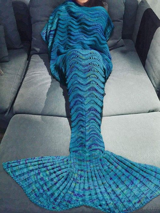 Hollow Weave Knitted Mermaid Tail Blanket For Adult Multicolor