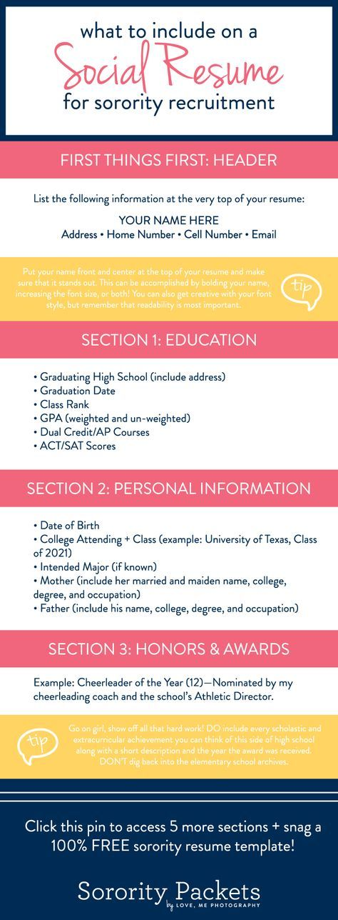 What To Include On A Sorority Resume In 2018 Sorority Pinterest