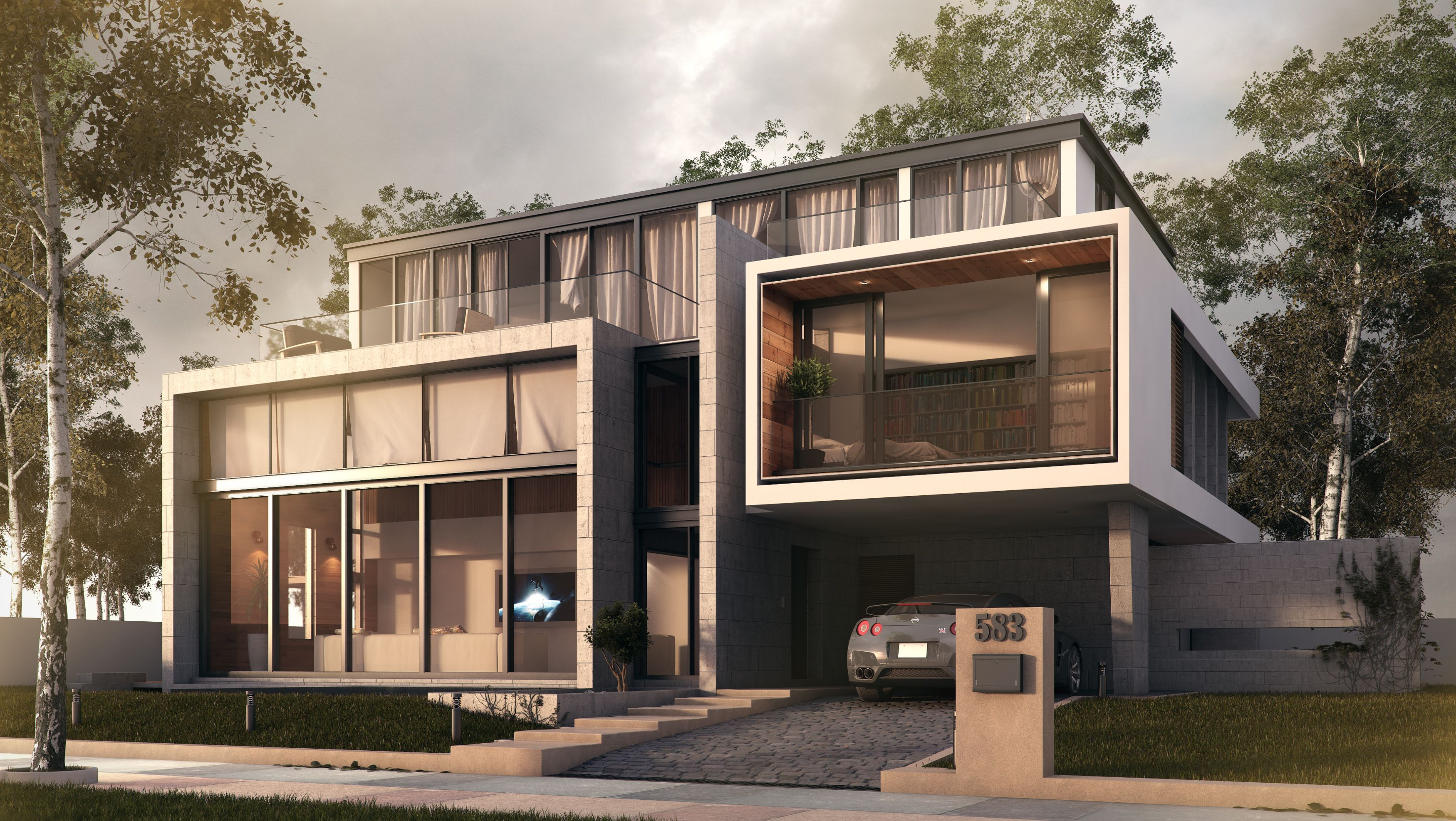 3ds max vray photoshop architecture 3ds max - Vray realistic render settings exterior ...