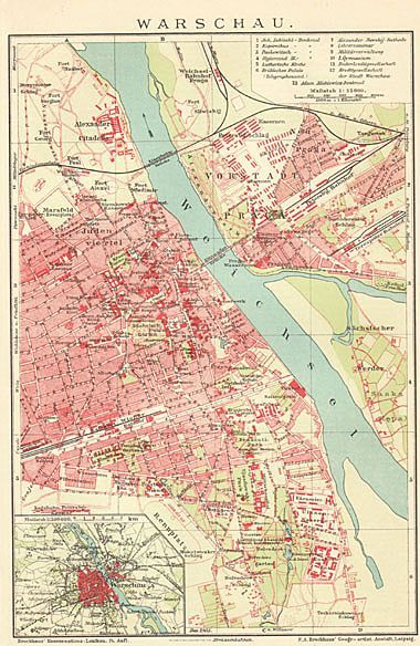 Poland 1900: Old Warsaw Map. Lithographed in 2019 | Wedding ...