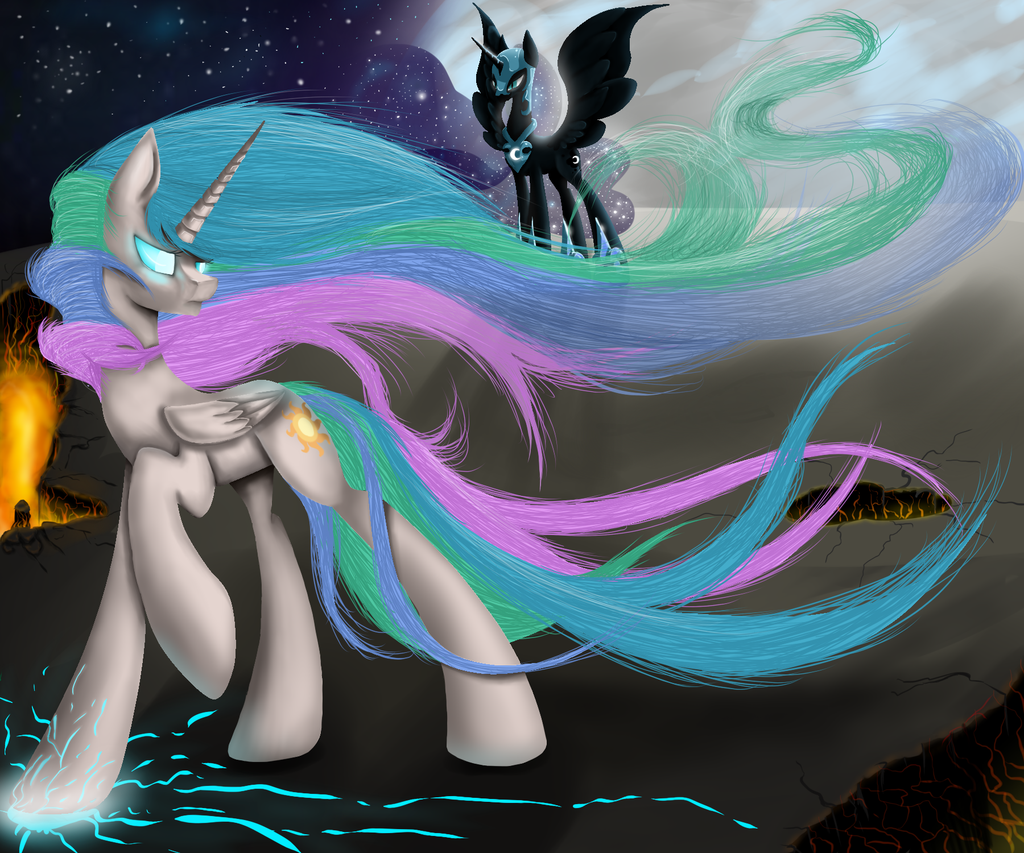My Little Pony Coloring Pages Nightmare Moon : Celestia vs nightmare moon by santagiera viantart on