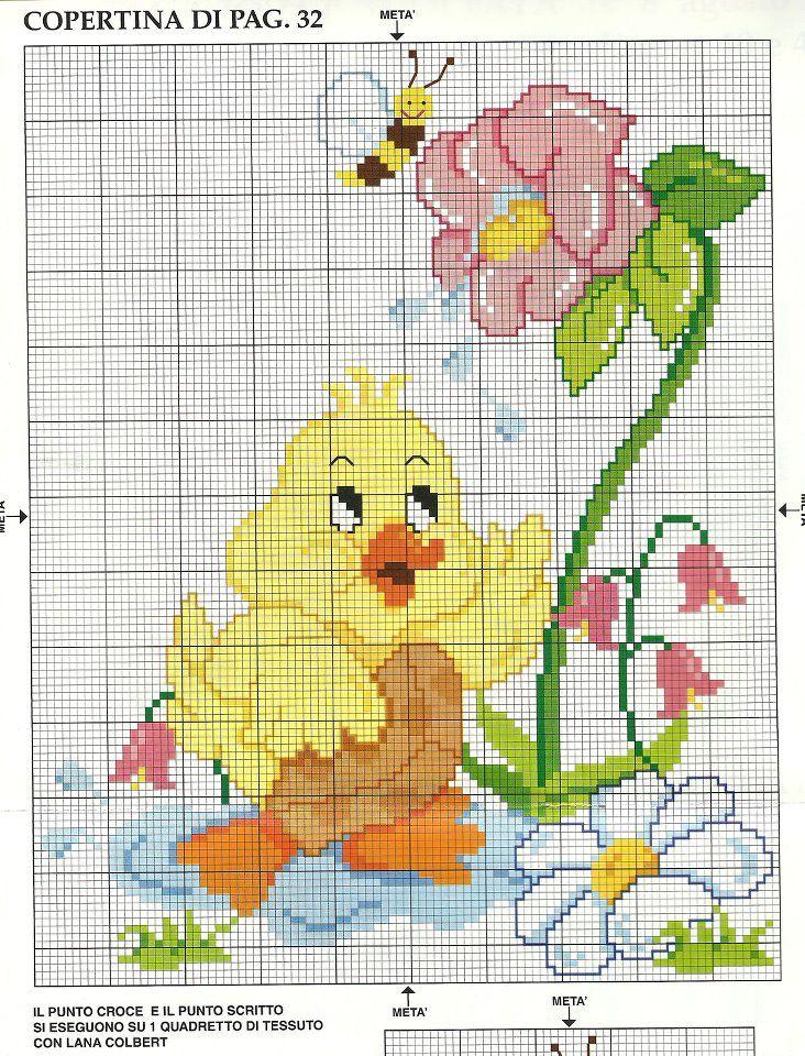 Dibujo pollito jardin punto de cruz pinterest jard n - Punto jardin ...