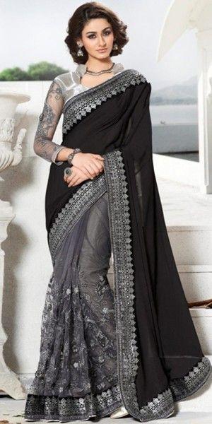 21a38933fd Teriffic Black And Grey Net Saree With Blouse.   Sarees ❤   Saree ...