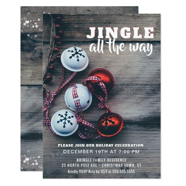 Jingle All the Way Rustic Holiday Party Invitation Holiday party